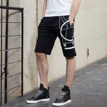 千纸鹤夏季薄男士运动卫裤 高弹 黑色修身五分裤 青年休闲短裤男 HMHT9673