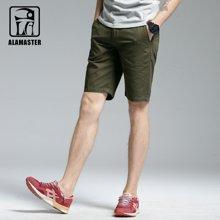 A LA MASTER 夏季男装纯棉短裤 潮流休闲五分裤男 直筒纯色中裤男17683S