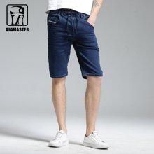 A LA MASTER 直筒马裤5分裤子男士牛仔短裤男五分裤休闲中裤薄17680S