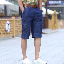战地吉普 2018夏季新款直筒宽松薄款大码七分裤多口袋男士中裤牛仔裤短裤 p1722