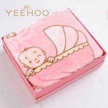 英氏 红色女宝宝加厚保暖绒毛毯礼盒(150*125CM) 154481