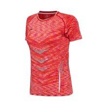 李宁羽毛球比赛服女士国家队比赛速干一体织修身短袖短装运动服AAYM126
