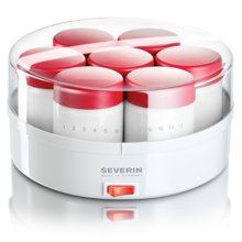 【德国】SEVERIN森威朗纳豆酸奶机 全自动家用酸奶机 玻璃7分杯设计 红色