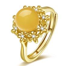 金兴福 华丽 S925银镶琥珀蜜蜡开口戒指(附证书)
