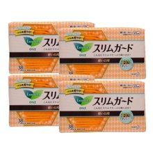 【4包装】日本花王 超薄瞬吸卫生巾 日用 无护翼(橙色)17cm*38片/包