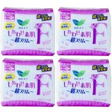 【4包装】日本花王LAURIER乐而雅超薄透气F系列卫生巾 日用25cm*17片/包