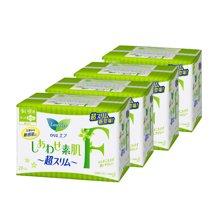 【4包装】日本花王 F系列 超薄卫生巾 日用 带护翼(白底绿花)22.5cm*20/包