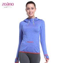 zoano佐纳 新款女士长袖T恤连帽修身运动服上衣瑜伽服跑步服