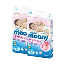 2包装 日本原装进口尤妮佳MOONY 婴儿纸尿裤宝宝增量装尿不湿 L58(9-14KG)