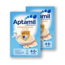 【香港直邮】英国Aptamil爱他美原装进口有机宝宝婴儿米粉米糊香蕉奶油味  4+125g*2盒装
