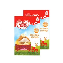 【香港直邮】英国牛栏COW&GATE宝宝米粉米糊4-6月4m+ 香蕉口味125g *2盒