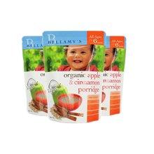 【海外直邮】澳洲贝拉米Bellamys有机婴儿米粉米糊宝宝辅食苹果肉桂口味香草口味(6月以上) 125g*3袋装