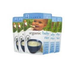 【香港直邮】澳洲贝拉米有机婴儿米粉米糊宝宝辅食 原味(4月以上)125g*5包装