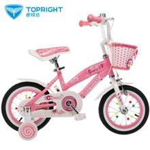 途锐达儿童自行车公主款 14寸 3岁6岁女孩粉色童车 甜甜圈