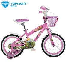 途锐达4至8岁以上儿童自行车16寸粉色 宝宝小孩自行车 小麋鹿