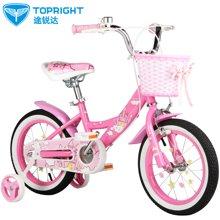途锐达儿童自行车18寸女童宝单车3/5/6/8岁粉色 小城堡
