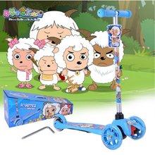 喜羊羊滑板车YY-298儿童三轮摇摆车 闪光踏板车 特价包邮