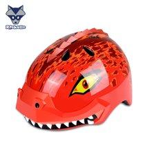 美国raskullz来斯狐3D儿童头盔红色恐龙男女宝自行车溜冰轮滑护具-小码2-7岁