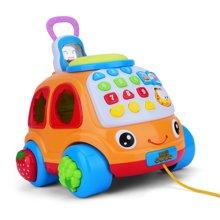 贝恩施儿童电话车玩具 宝宝仿真电话机早教积木 音乐电话车1-3岁
