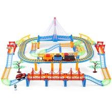 贝恩施 儿童轨道火车玩具套装电动拼装多层轨道