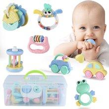 贝恩施婴儿牙胶手摇铃玩具 岁宝宝益智婴幼儿玩具 12件套,送收纳箱