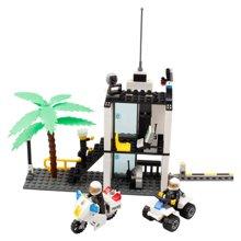 小才童3C认证警察治安岗警察局系列益智拼装玩具拼插积木672818MC