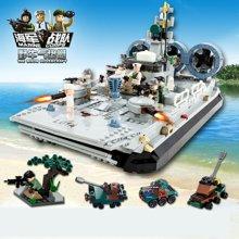 小才童野牛气垫艇军事 启蒙益智组装拼插拼装塑料积木玩具8027 106MC