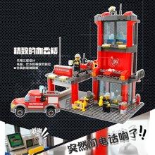 小才童开智消防积木消防厅消防车军事拼插积木儿童益智玩具805228MC