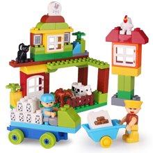 创意场景楼房车子儿童玩具 大颗粒启蒙积木diy益智玩具HPDDT1604