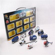 邦迪  正品DB-005 环保无害十款滑行比例合金车1:87迷你合金模型玩具车警察组合套装