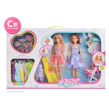 邦迪DB-002娃娃芭比娃娃公主真眼美瞳DIY益智串珠大礼盒女孩环保3C认证儿童玩具