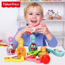 费雪动物保龄球玩具 木制室内户外桌球玩具儿童婴儿套装2-3-5男孩