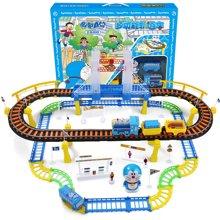 哆啦A梦正版授权 儿童电动轨道车玩具 3-6岁双层高架桥火车组合套装