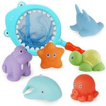 贝恩施婴儿宝宝洗澡戏水玩具捏捏叫变色喷水鲨鱼网捞洗澡套装