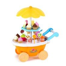 贝恩施儿童女孩过家家厨房玩具冰淇淋糖果车甜品手推车带灯光音乐