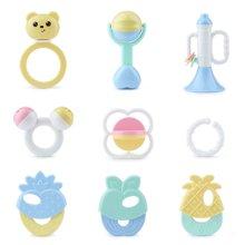 贝恩施马卡龙益智摇铃牙胶婴儿手摇铃玩具0-3-6-12个月