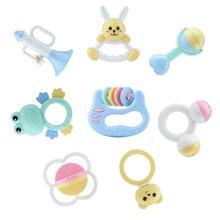 贝恩施马卡龙奶瓶装益智摇铃牙胶婴儿手摇铃玩具0-3-6-12个月