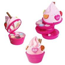 育儿之钥芭比 儿童旋转蛋糕粉盒礼盒 表演化妆品女孩玩具 安全彩妆礼物