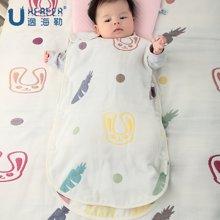 海勒兔 六层棉纱开放式婴儿防踢被 儿童纯棉睡袋 蘑菇睡袋透气