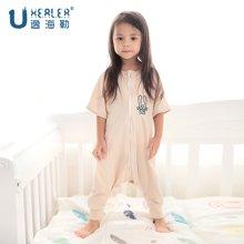 海勒兔 婴儿短袖分腿式防踢被 儿童轻薄空调睡袋 纯棉透气