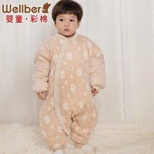 威尔贝鲁 彩棉婴儿分腿蚕丝睡袋 秋冬加厚款新生儿宝宝防踢被 70cm