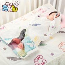 海勒兔 新生婴儿宝宝专用睡袋 六层纯棉纱布防踢被 可调节长度