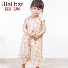 威尔贝鲁 婴儿纱布睡袋夏季 分腿宝宝薄款睡袋透气夏天儿童防踢被