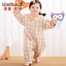 威尔贝鲁 纯棉婴儿睡袋 宝宝分腿睡袋 新生儿童防踢被 春秋款