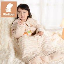 威尔贝鲁 纯棉宝宝新生婴儿睡袋 春夏薄款 彩棉小孩儿童防踢被