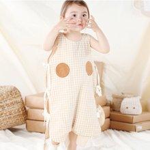 威尔贝鲁 棉麻婴儿纱布分腿背心睡袋宝宝夏季儿童防踢被夏秋薄款