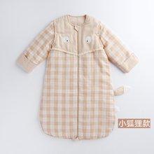 威尔贝鲁 彩棉纱布婴儿睡袋 宝宝睡袋可脱袖春秋薄款棉 防踢被子