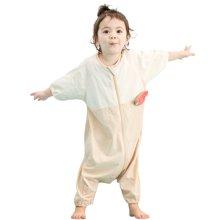 威尔贝鲁(WELLBER)婴儿睡袋春秋薄款宝宝纯棉分腿睡袋儿童七分袖防踢被子