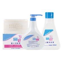 施巴泡泡沐浴露500ml+施巴儿童洗发液250ml+施巴婴儿洁肤皂100g