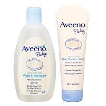 美国 艾维诺Aveeno 婴儿沐浴露洗发水二合一236ml+婴儿燕麦润肤乳227g